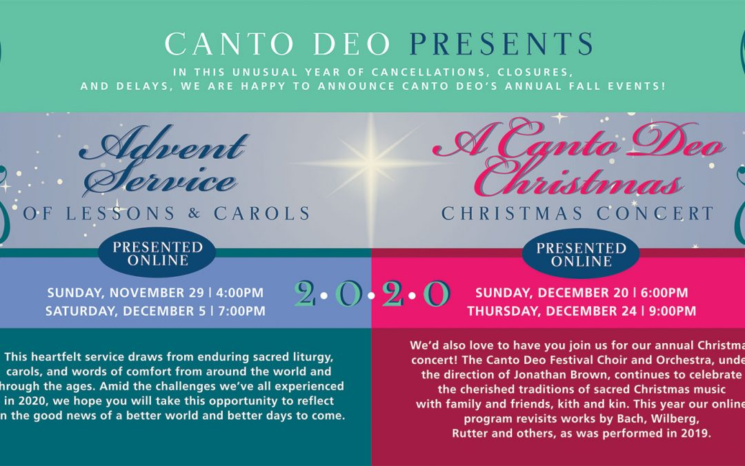 Canto Deo Presents 2020 Fall Concerts Online